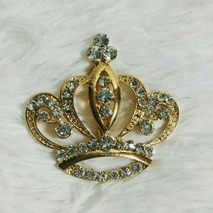 Rhinestone Bawse Crown Brooch Pin